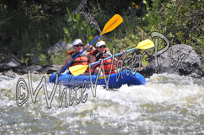 Colorado River Center crashing Cable Rapid while floating the Upper Colorado River from Rancho to State Bridge, August 9, 2013, Afternoon Trip, PM, Bond, Colorado - WhiteWater-Pix | River Adventure Photography - by MADOGRAPHER Doug Mayhew
