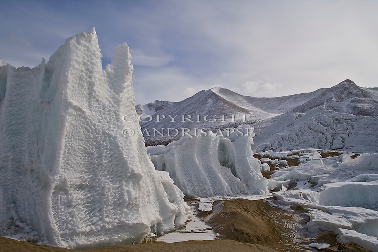Ice formations at Lake Brownworth. Lower Wright Valley. Dry Valleys Antarctica.