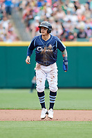 Columbus Clippers center fielder Brandon Barnes (9) leads off second base during a game against the Gwinnett Stripers on May 17, 2018 at Huntington Park in Columbus, Ohio.  Gwinnett defeated Columbus 6-0.  (Mike Janes/Four Seam Images)