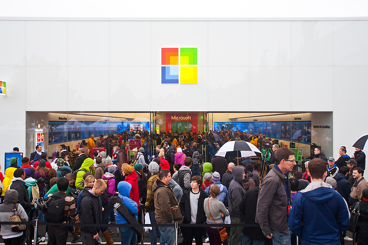 "Seattle, Microsoft, grand opening of Microsoft's first retail store, October 20, 2011, Seattle's University Village shopping center, Washington State, United States, Microsoft's ""bricks and mortar"" experiment opened directly across the parking lot from Apple's long established retail store."