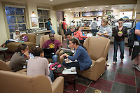 Students study for finals in the Green Bean Coffee Lounge, Dec. 14, 2010. (Photo by Marc Campos, Occidental College Photographer)