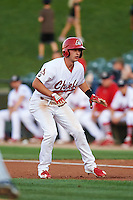 Peoria Chiefs third baseman Paul DeJong (7) leads off first during a game against the Wisconsin Timber Rattlers on August 21, 2015 at Dozer Park in Peoria, Illinois.  Wisconsin defeated Peoria 2-1.  (Mike Janes/Four Seam Images)