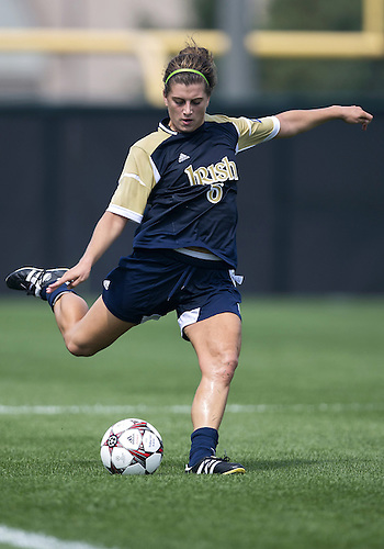 September 01, 2013:  Notre Dame forward Cari Roccaro (5) kicks the ball during NCAA Soccer match between the Notre Dame Fighting Irish and the UCLA Bruins at Alumni Stadium in South Bend, Indiana.  UCLA defeated Notre Dame 1-0.