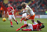Blackpool's Armand Gnanduillet battles with Charlton Athletic's Mark Marshall<br /> <br /> Photographer David Shipman/CameraSport<br /> <br /> The EFL Sky Bet League One - Charlton Athletic v Blackpool - Saturday 16th February 2019 - The Valley - London<br /> <br /> World Copyright © 2019 CameraSport. All rights reserved. 43 Linden Ave. Countesthorpe. Leicester. England. LE8 5PG - Tel: +44 (0) 116 277 4147 - admin@camerasport.com - www.camerasport.com