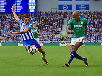 West Bromwich Albion's Allan-Romeo Nyom (right) crosses the ball despite the attentions of Brighton &amp; Hove Albion's Anthony Knockaert (left)<br /> <br /> Brighton 3 - 1 West Bromwich<br /> <br /> Photographer David Horton/CameraSport<br /> <br /> The Premier League - Brighton and Hove Albion v West Bromwich Albion - Saturday 9th September 2017 - The Amex Stadium - Brighton<br /> <br /> World Copyright &copy; 2017 CameraSport. All rights reserved. 43 Linden Ave. Countesthorpe. Leicester. England. LE8 5PG - Tel: +44 (0) 116 277 4147 - admin@camerasport.com - www.camerasport.com