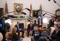 From left to right: Mrs. Mareva Grabowski, Prime Minister Kyriakos Mitsotakis of Greece , United States President Donald J. Trump, first lady Melania Trump, and US Secretary of State Mike Pompeo in the Oval Office at the White House in Washington, D.C. on Tuesday, January 7, 2020.   <br /> Credit: Tasos Katopodis / Pool via CNP/AdMedia