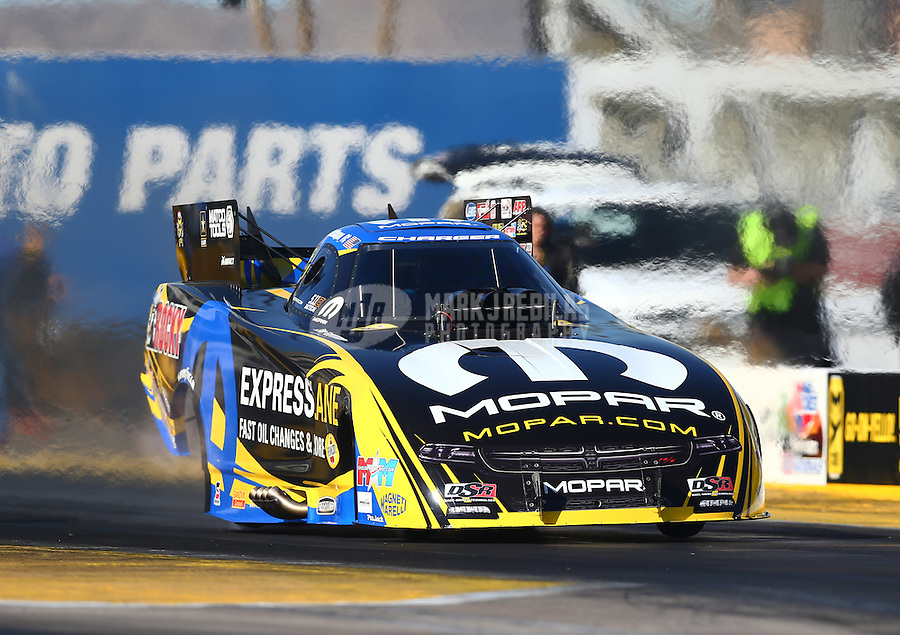 Feb 4, 2016; Chandler, AZ, USA; NHRA funny car driver Matt Hagan during pre season testing at Wild Horse Pass Motorsports Park. Mandatory Credit: Mark J. Rebilas-USA TODAY Sports