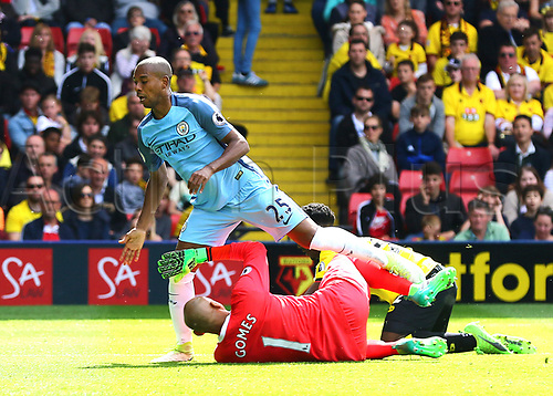 May 21st 2017, Vicarage Road, Watford, Herts, England; EPL Premier league football, Watford versus Manchester City; Fernandinho of Manchester City slots his shot past Watford Goalkeeper Heurelho Gomes to make it 0-4 in the 41st minute
