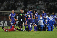 MEDELLÍN -COLOMBIA-08-05-2014.  Jugadores de Defensor al final del encuentro de ida entre Atlético Nacional de Colombia y Defensor Sporting de Uruguay  por los cuartos de final de la Copa Bridgestone Libertadores 2014 jugado en el estadio Atanasio Girardot de Medellín, Colombia./  Players of Defensor at the end of the first leg match between Atletico Nacional of Colombia and Defensor Sporting of Uruguay for the quaterfinals of the Copa Libertadores championship 2014 played at Atanasio Girardot stadium in Medellin, Colombia. Photo: VizzorImage/ Luis Ríos /STR