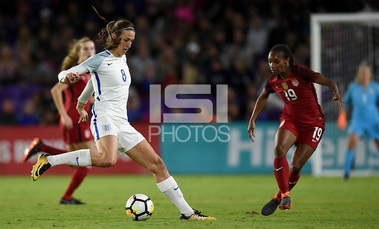 Orlando City, FL - Wednesday March 07, 2018: Jill Scott during a 2018 SheBelieves Cup match between the women's national teams of the United States (USA) and England (ENG) at Orlando City Stadium.