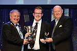 receiving the trophy from on left, Colm Moules, President, AIMS and Seamus Power, Vice-President at the Association of Irish Musical Societies annual awards in the INEC, KIllarney at the weekend.<br /> Photo: Don MacMonagle -macmonagle.com<br /> <br /> <br /> <br /> repro free photo from AIMS<br /> Further Information:<br /> Kate Furlong AIMS PRO kate.furlong84@gmail.com