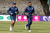 Issued by Cricket Scotland - Scotland players Brad Wheal (left) and Safyaan Sharif in some practice ahead of tomorrow's (sat) Scotland V Sri Lanka 1st One Day International at Grange CC, Edinburgh - picture by Donald MacLeod - 17.05.19 - 07702 319 738 - clanmacleod@btinternet.com - www.donald-macleod.com