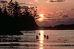 Sea kayakers, Barkley Sound, Pacific Rim National Park, west coast of Vancouver Island, British Columbia, Canada, Sunset, Broken Islands, .