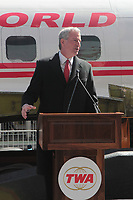 New York City Mayor De Blasio delivers remarks at the TWA MCR 'Connie' Unveiing