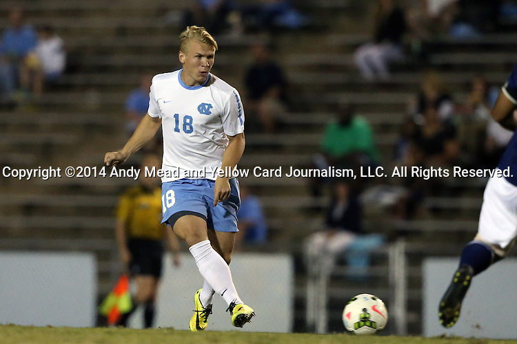 28 October 2014: North Carolina's Verneri Valimaa. The University of North Carolina Tar Heels hosted the Georgia Southern University Eagles at Fetzer Field in Chapel Hill, NC in a 2014 NCAA Division I Men's Soccer match. North Carolina won the game 6-2.