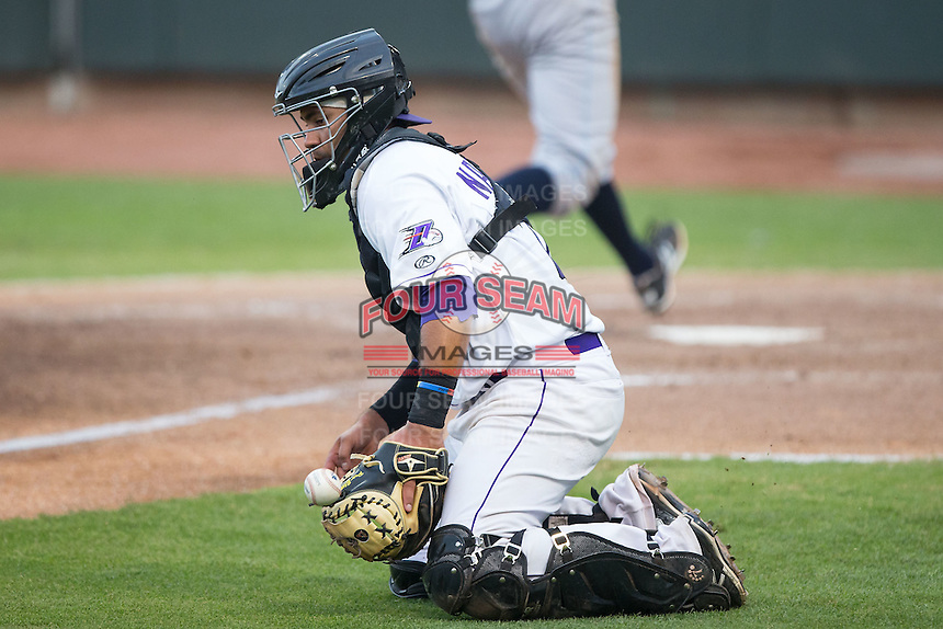 Winston-Salem Dash catcher Omar Narvaez (22) blocks a throw up the third base line during the game against the Wilmington Blue Rocks at BB&T Ballpark on June 10, 2015 in Winston-Salem, North Carolina.  The Blue Rocks defeated the Dash 11-5.  (Brian Westerholt/Four Seam Images)