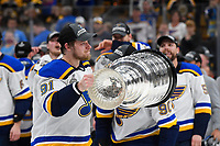 June 12, 2019: St. Louis Blues right wing Vladimir Tarasenko (91) hoists the Stanley Cup at game 7 of the NHL Stanley Cup Finals between the St Louis Blues and the Boston Bruins held at TD Garden, in Boston, Mass.  The Saint Louis Blues defeat the Boston Bruins 4-1 in game 7 to win the 2019 Stanley Cup Championship.  Eric Canha/CSM.