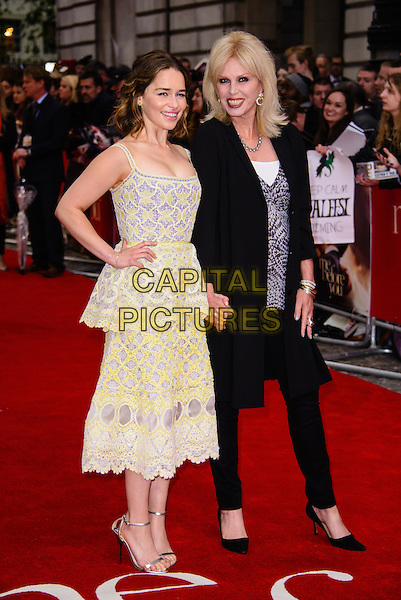 LONDON, ENGLAND - MAY 25: Emilia Clarke and Joanna Lumley<br />  arrive at the Me Before You European premiere at the Curzon Mayfair, on May 25th, 2016 in London, England. <br /> CAP/JC<br /> &copy;JC/Capital Pictures