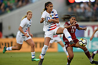 Jacksonville, FL - Thursday April 5, 2018: Alex Morgan, Annia Mejía during an International friendly match versus the women's National teams of the United States (USA) and Mexico (MEX) at EverBank Field.