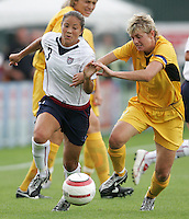 10 July 2005:  Lorrie Fair of USA in action against Ukraine at Merlo Field at University of Portland in Portland, Oregon.    USA defeated Ukraine, 7-0.   Credit: Michael Pimentel / ISI