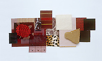 A collection of fabric swatches and material samples illustrating the colour range from claret to aubergine