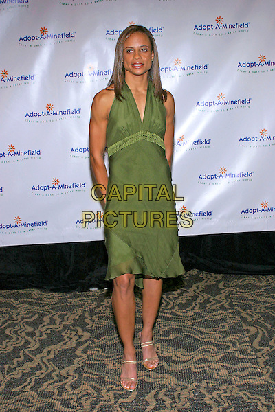 JOANNA HAYES.At the 4th Annual Adopt-A-Minefield Gala held at the Century Plaza Hotel, Century City, California , USA,.15 th October 2004..full length green dress gold shoes.**UK SALES ONLY**.Ref:ADM.www.capitalpictures.com.sales@capitalpictures.com.©JW/AdMedia/Capital Pictures.