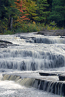 Red maple and Manido Falls<br />  and Presque Isle River<br /> Ottawa National Forest<br /> Upper Peninsula, Michigan