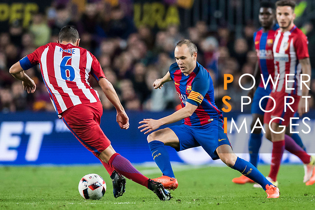 Andres Iniesta Lujan (r) of FC Barcelona battles for the ball with Jorge Resurreccion Merodio, Koke, of Atletico de Madrid during their Copa del Rey 2016-17 Semi-final match between FC Barcelona and Atletico de Madrid at the Camp Nou on 07 February 2017 in Barcelona, Spain. Photo by Diego Gonzalez Souto / Power Sport Images