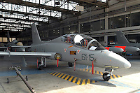 - final assembly line of advanced military training aircraft Aermacchi MB 339 at the plant of Venegono (Varese)....- linea di montaggio finale dell'aereo da addestramento avanzato Aermacchi MB 339 presso lo stabilimento di Venegono (Varese)