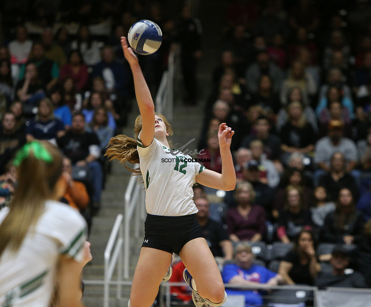 Prosper Eagles senior Haley Killinger (12) attacks during the Class 5A high school volleyball state final between Rouse High School and Prosper High School at Curtis Culwell Center in Garland, Texas, on November 18, 2017. Prosper won the match in five sets, (25-18, 21-25, 18-25, 25, 23, 16-14) to win the 5A state championship.