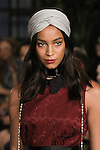 Hair and makeup beauty detail of model walking runway in outfit from the Eva Mendes For New York & Company Spring Summer 2017 fashion show, on September 6 2016, at Academy Mansion during New York Fashion Week Spring Summer 2017.