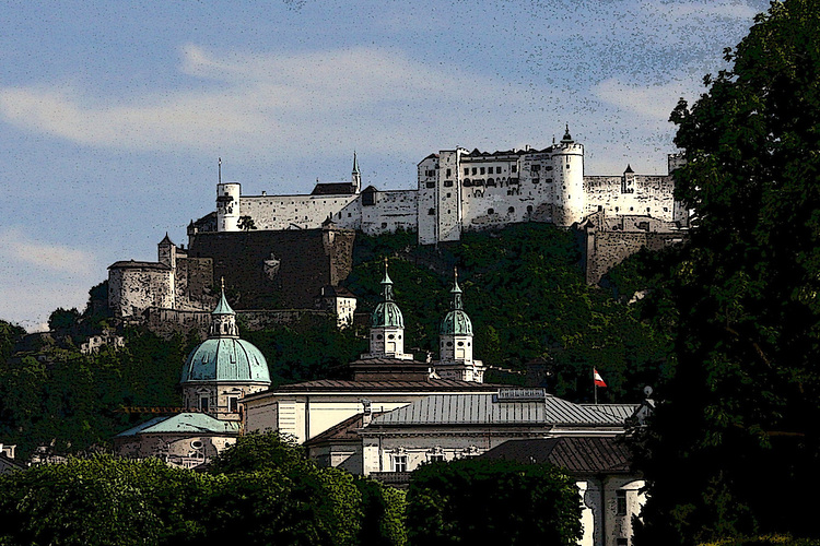Hohensalzburg Fortress as seen from the Mirabell Gardens (poster effect)