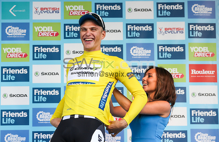 Picture by Alex Whitehead/SWpix.com - 07/09/2014 - Cycling - 2014 Friends Life Tour of Britain - Stage 1, Liverpool - Team Giant Shimano's Marcel Kittel wins the yellow jersey after stage 1 in Liverpool.