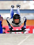 15 December 2006: Amy Williams, from Great Britain, starts her run at the FIBT Women's World Cup Skeleton Competition at the Olympic Sports Complex on Mount Van Hoevenburg  in Lake Placid, New York, USA. &amp;#xA;&amp;#xA;Mandatory Photo credit: Ed Wolfstein Photo<br />