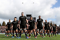 HAMILTON, NEW ZEALAND - SEPTEMBER 07: The NZ All Blacks perform the haka ahead of the rugby Test Match between the New Zealand All Blacks and Tonga at FMG Stadium in Hamilton, New Zealand on Saturday, 7 September, 2019. Photo by Hannah Peters / POOL
