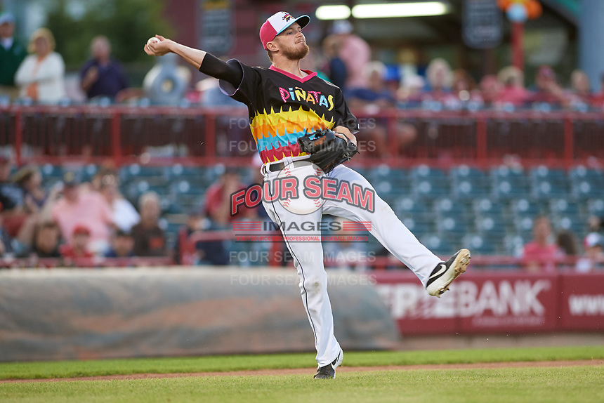 Erie Piñatas third baseman Kody Eaves (22) throws to first base during an Eastern League game against the Las Ardillas Voladoras de Richmond on August 28, 2019 at UPMC Park in Erie, Pennsylvania.  Richmond defeated Erie 4-3 in the second game of a doubleheader.  (Mike Janes/Four Seam Images)