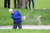 Romain Wattel (FRA) chips from another bunker at the 1st green during Saturday's rain delayed Round 2 of the Andalucia Valderrama Masters 2018 hosted by the Sergio Foundation, held at Real Golf de Valderrama, Sotogrande, San Roque, Spain. 20th October 2018.<br /> Picture: Eoin Clarke | Golffile<br /> <br /> <br /> All photos usage must carry mandatory copyright credit (&copy; Golffile | Eoin Clarke)