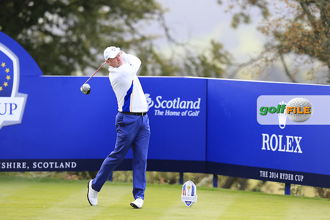 Jamie Donaldson (EUR) tees off the 5th tee during Saturday Morning's Fourball Matches between Europe's Lee Westwood and Jamie Donaldson and USA's Hunter Mahan and Jim Furyk of the Ryder Cup 2014 played on the PGA Centenary Course at the Gleneagles Hotel, Auchterarder, Scotland.: Picture Eoin Clarke, www.golffile.ie: 27th September 2014