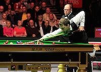 Judd Trump has to attempt a tricky angled shot during the Dafabet Masters Quarter Final 2 match between Judd Trump and Neil Robertson at Alexandra Palace, London, England on 15 January 2016. Photo by Liam Smith / PRiME Media Images.