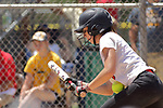 02 June 2017: Ashley McKinney catches the ball in the stomach after fouling it off the bat. Goreville Blackcats v Heyworth Hornets class 1A IHSA Class 1A Softball Semi-Final at Eastside Centre in East Peoria Illinois