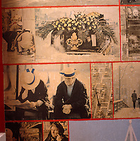 Close-up detail of the walls of the first-floor loo that are papered with the proofs of Lord Snowdon's book 'A View of Venice'