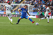 9th September 2017, King Power Stadium, Leicester, England; EPL Premier League Football, Leicester City versus Chelsea; Vicente Iborra of Leicester City puts his left foot out trying to stop the ball
