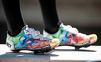 the sweetest kicks in the pro peloton as worn by Esteban Chavez (COL/Mitchelton-Scott) > colours are drived from the foundation that caries his name<br /> <br /> restday 1 (20 may) of the 102nd Giro d'Italia 2019<br /> <br /> ©kramon