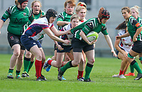 Saturday 20th April 2019 | 2019 Ulster Women's Junior Cup Final<br /> <br /> Claire McGill is tackled by Jenna Stewart during the Ulster Women's Junior Cup final between Malone and City Of Derry at Kingspan Stadium, Ravenhill Park, Belfast. Northern Ireland. Photo John Dickson/Dicksondigital