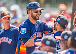 15 March 2016: Houston Astros infielder Marwin Gonzalez returns to the dugout after hitting a solo home run in the 4th inning during a Spring Training pre-season game against the Washington Nationals at Osceola County Stadium in Kissimmee, Florida. The Astros fell to the Nationals 6-4 in Grapefruit League play. Mandatory Credit: Ed Wolfstein Photo *** RAW (NEF) Image File Available ***