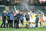 Auckland City FC Squad celebrate after winning the Nike New Year Cup 2017 match between SC Kitchee (HKG) and Auckland City FC (NZL) on January 31, 2017 in Hong Kong, Hong Kong. Photo by Marcio Rodrigo Machado / Power Sport Images