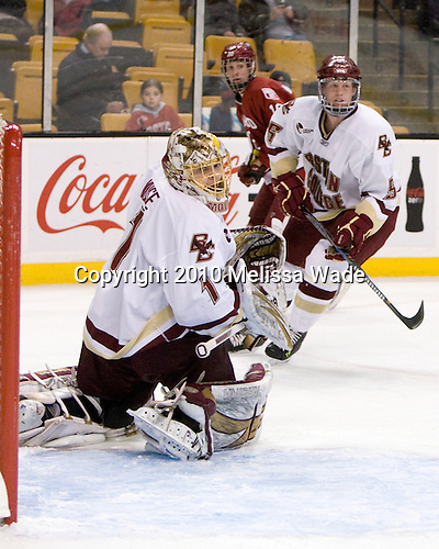 John Muse (BC - 1), Alex Fallstrom (Harvard - 16), Philip Samuelsson (BC - 5) - The Boston College Eagles defeated the Harvard University Crimson 6-0 on Monday, February 1, 2010, in the first round of the 2010 Beanpot at the TD Garden in Boston, Massachusetts.