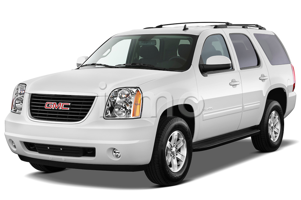 Front three quarter view of a 2012 GMC Yukon SLE.
