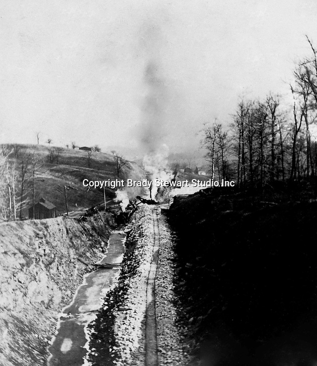 Hopedale OH:  Track construction near the eastern approach to the Hanna Tunnel - February 1904. The Pittsburgh, Toledo and Western Railroad company, owned by the famous George J. Gould,  hired Brady Stewart to document the track and tunnel construction between Hopedale Ohio and downtown Pittsburgh.