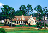 Horizontal view of the Golf Clubhouse and landscaping at Laurel Springs Golf Course. The course was designed by Jack Nicklaus. Cumming, Georgia.